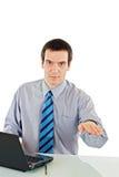 Mostra do homem de negócios que acalma para baixo o sinal imagem de stock royalty free