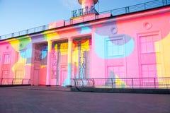 mostra do laser 3d no quadrado de Poshtova em Kyiv, Ucrânia 05 14 2017 editorial Imagens de Stock