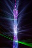 Mostra do laser da torre de GuangZhou Imagens de Stock