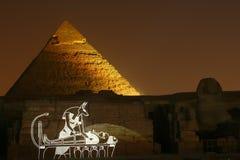 Mostra do laser em pirâmides Imagem de Stock
