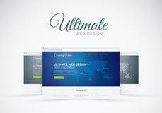 Mostra do projeto do Web site no conceito do vetor do web browser Imagens de Stock Royalty Free