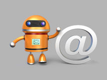 Mostra do robô no sinal para o conceito do email Imagens de Stock