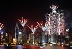 Mostra dos fogos-de-artifício da contagem regressiva em Hong Kong Foto de Stock