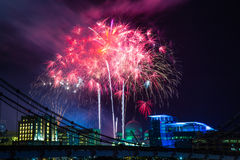 Mostra dos fogos-de-artifício do ano novo Fotos de Stock