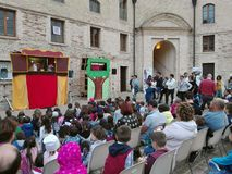 Mostra e spettacolo di burattini nella città di Ancona fotografia stock