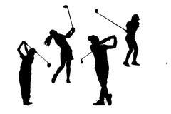 Mostra em silhueta a coleção dos jogadores de golfe Fotografia de Stock Royalty Free