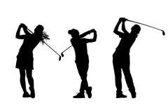 Mostra em silhueta a coleção dos jogadores de golfe Foto de Stock Royalty Free