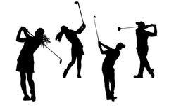 Mostra em silhueta a coleção dos jogadores de golfe Fotografia de Stock