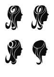 Mostra em silhueta meninas, cabeça Fotos de Stock Royalty Free