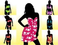 Mostra em silhueta o swimwear das mulheres Fotografia de Stock