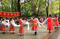 Mostra local da dança no parque de pessoa Chengdu Imagens de Stock