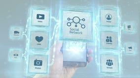 Mostra o conceito social do esquema da rede que visualiza dos dispositivos móveis Fundo branco ilustração do vetor
