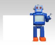 Mostra retro do robô um quadro de mensagens vazio Foto de Stock