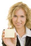 Mostrando a nota adesiva Fotos de Stock