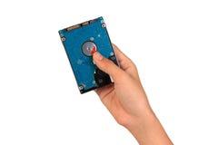 Mostrando o disco rígido, mão que guarda o disco rígido Fotos de Stock