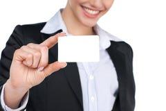 Mostrando segno - donna del biglietto da visita Immagine Stock Libera da Diritti