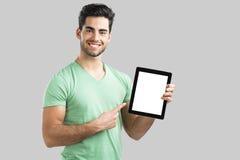 Mostrar algo en la tableta Fotografía de archivo