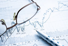 Mostrar concepto del informe de negocios Imagen de archivo