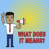 Mostrar conceptual da escrita da m?o o que o faz significa a pergunta O texto da foto do neg?cio que pede a significado algo diss ilustração stock
