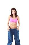 Mostrar da mulher quanto peso perdeu Fotos de Stock
