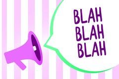 Mostrar do sinal do texto blá - blá A foto conceptual que fala demasiada informação falsa bisbilhota loudspe falador do megafone  ilustração do vetor