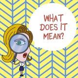 Mostrar do sinal do texto o que o faz significa a pergunta A foto conceptual que pede a significado algo disse e n?o compreende ilustração do vetor