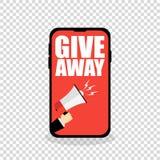 mostrar do telefone celular dá afastado o anúncio vermelho ilustração royalty free