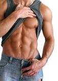 Mostrar 'sexy' do homem seu Seis-Embala isolado no branco Imagens de Stock Royalty Free