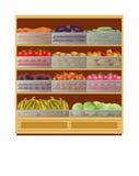 Mostras com vegetais em um supermercado Fotos de Stock Royalty Free