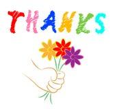 Mostras de flores dos agradecimentos que florescem você e florista Fotografia de Stock Royalty Free