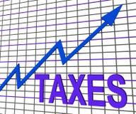 Mostras do gráfico da carta dos impostos que aumentam o imposto ou a tributação Fotos de Stock Royalty Free