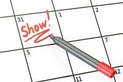 Mostre a data no conceito do calendário, rendição 3D Imagem de Stock Royalty Free