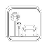 Mostre em silhueta a área de estacionamento do botão para veículos com medidor de estacionamento ilustração royalty free