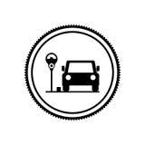 Mostre em silhueta a área de estacionamento do selo para veículos com medidor de estacionamento ilustração stock