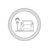 Mostre em silhueta a área de estacionamento do selo para veículos com medidor de estacionamento ilustração do vetor