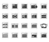 Mostre em silhueta ícones da aplicação, da programação, do servidor e do computador Imagem de Stock