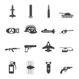 Mostre em silhueta a arma, os braços e ícones simples da guerra Foto de Stock Royalty Free