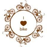Mostre em silhueta a bicicleta retro para o quadro do menino e da menina ilustração do vetor