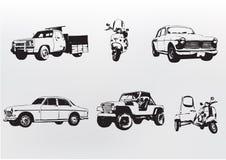 Mostre em silhueta carros. Fotos de Stock