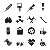 Mostre em silhueta a coleção de ícones e de sinais de aviso temáticos médicos Fotografia de Stock Royalty Free