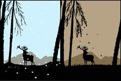 Mostre em silhueta de um cervo ilustração royalty free