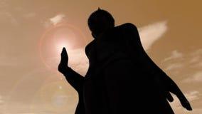 Mostre em silhueta a estátua de buddha que está com o alargamento alaranjado do fundo do lapso de tempo do céu e da luz do sol filme
