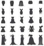 Mostre em silhueta a forma da mulher, a roupa, e a cenografia do ícone do vestido para Imagens de Stock Royalty Free