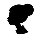 Mostre em silhueta a forma principal do preto da menina isolada no fundo branco, Foto de Stock