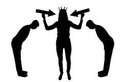 Mostre em silhueta a mulher egoísta com uma coroa em sua cabeça que tenta atrair a atenção ilustração royalty free