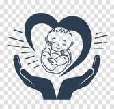 Mostre em silhueta o ícone do nascimento de uma criança ilustração do vetor