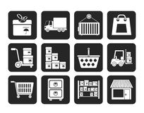 Mostre em silhueta o armazenamento, o transporte, a carga e os ícones do transporte Foto de Stock