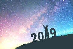Mostre em silhueta o homem novo feliz para o fundo do ano 2019 novo no Imagem de Stock Royalty Free