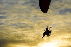 Mostre em silhueta o parapente do homem, voando acima da praia Imagens de Stock