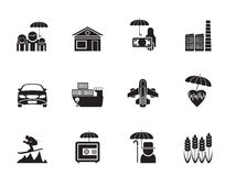 Mostre em silhueta o tipo diferente de ícones do seguro e do risco Fotos de Stock